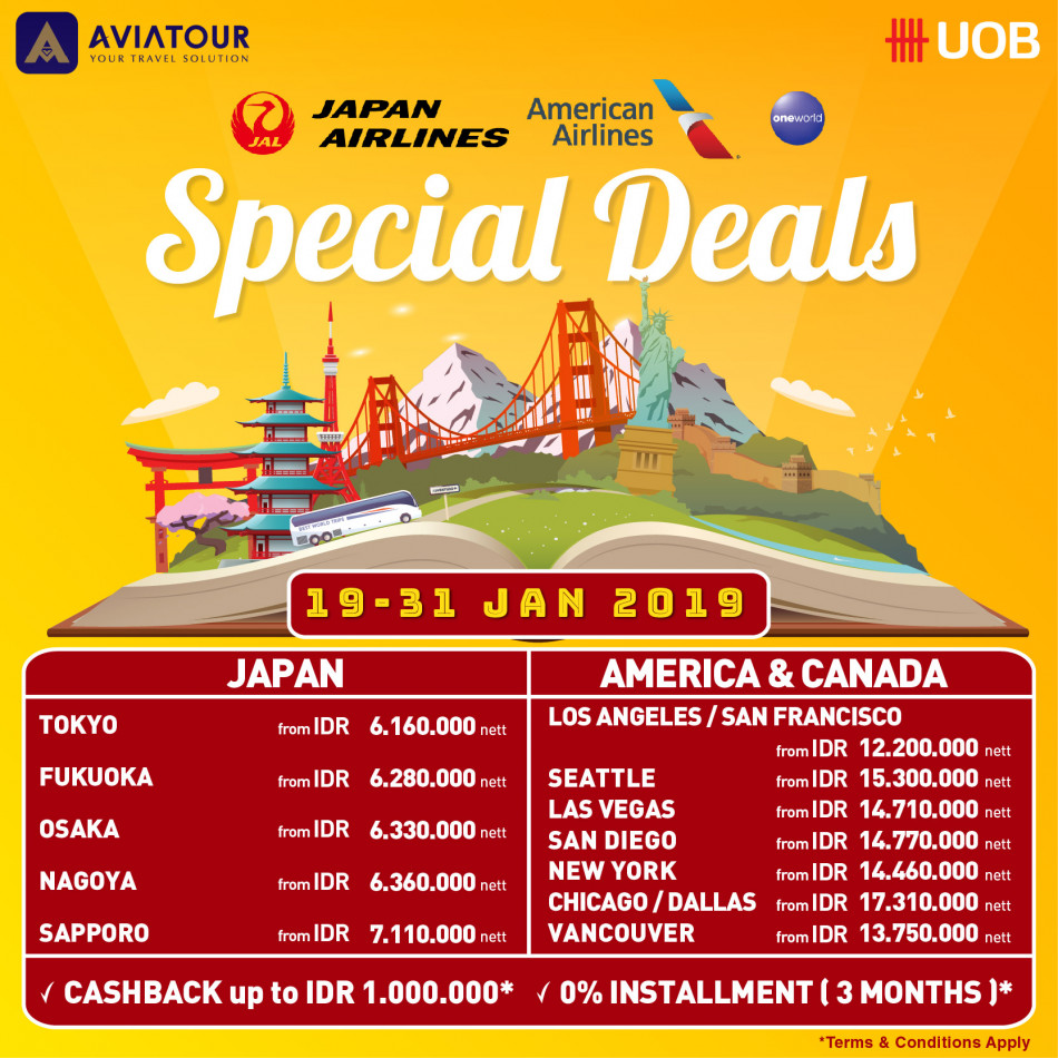 Japan Airlines & American Airlines Special Deals